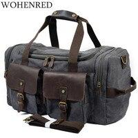 Vintage Military Men Travel Duffel Bag Multi Pocket Canvas Overnight Bag Leather Weekend Carry On Big