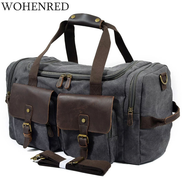 Vintage Military Men Travel Duffel Bag Multi-pocket Canvas Overnight Bag  Leather Weekend Carry on f5b47961a4a5f