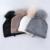 2017 Mujeres del Invierno de la Gorrita Tejida 100% de piel de Mapache Bola Pompón de Punto Gorro De Lana Skullies Casquillo de Las Señoras Sombreros De Punto Para Mujeres gorros