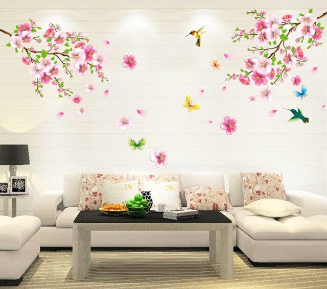 Cherry Branche Flower Peach Blossom Tree Wall Sticker for TV sofa Living Room Bedroom Home Decor wedding Decoration