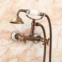 Antique telephone style shower set bathroom shower faucet mixer tap, Wall mounted copper shower faucet set shower head vintage