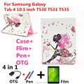 For Samsung 10.1 case with diamond stand Leather case cover For Samsung Galaxy Tab 4 10.1 T530 T531 T535 Tablet PC+pen+Film+OTG