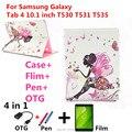 Para samsung 10.1 caso con diamond cubierta de la caja del cuero del soporte para samsung galaxy tab 4 10.1 t530 t531 t535 tablet PC + pen + Película + OTG