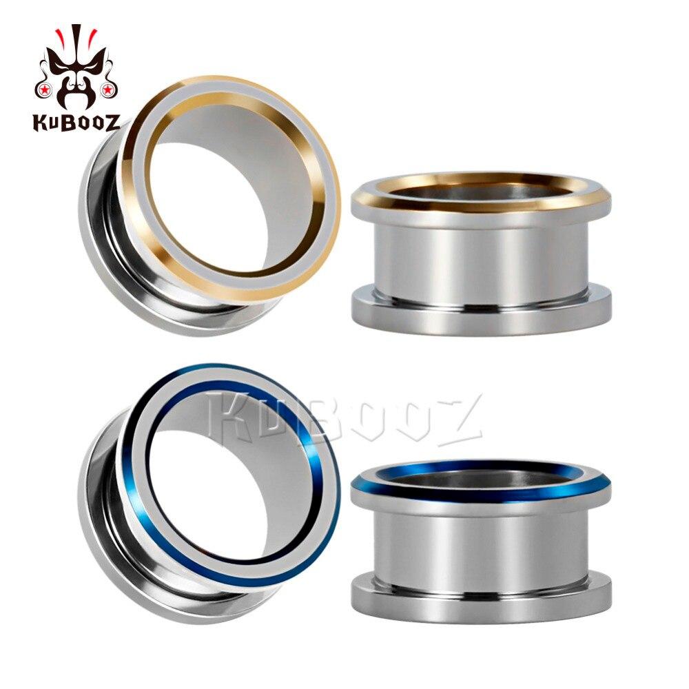 KUBOOZ Ear Piercing Tunnels Screw Plugs Body Jewelry Stainless Steel Gauges Expander Earrings Stretcher Fashion Gift 2G 0G 00G Пирсинг ушей