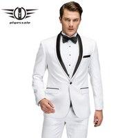Plyesxale белый костюм Для мужчин 2018 Новый Демисезонный Slim Fit Нарядные Костюмы для свадьбы для Для мужчин высокое качество воротником выпускног