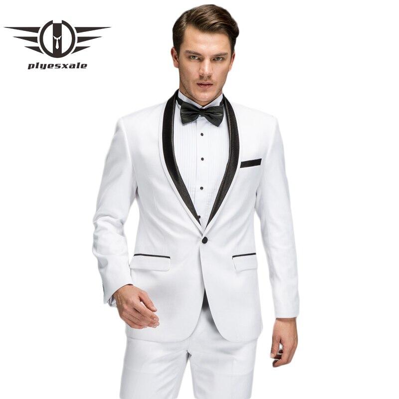 Plyesxale белый костюм Для мужчин 2018 Новый Демисезонный Slim Fit Свадебные костюмы для мужчин Высокое качество воротником Пром вечерние костюмы Q70
