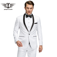Plyesxale White Suit Men 2018 New Spring Autumn Slim Fit Wedding Suits For Men High Quality Shawl Collar Prom Party Suits Q70
