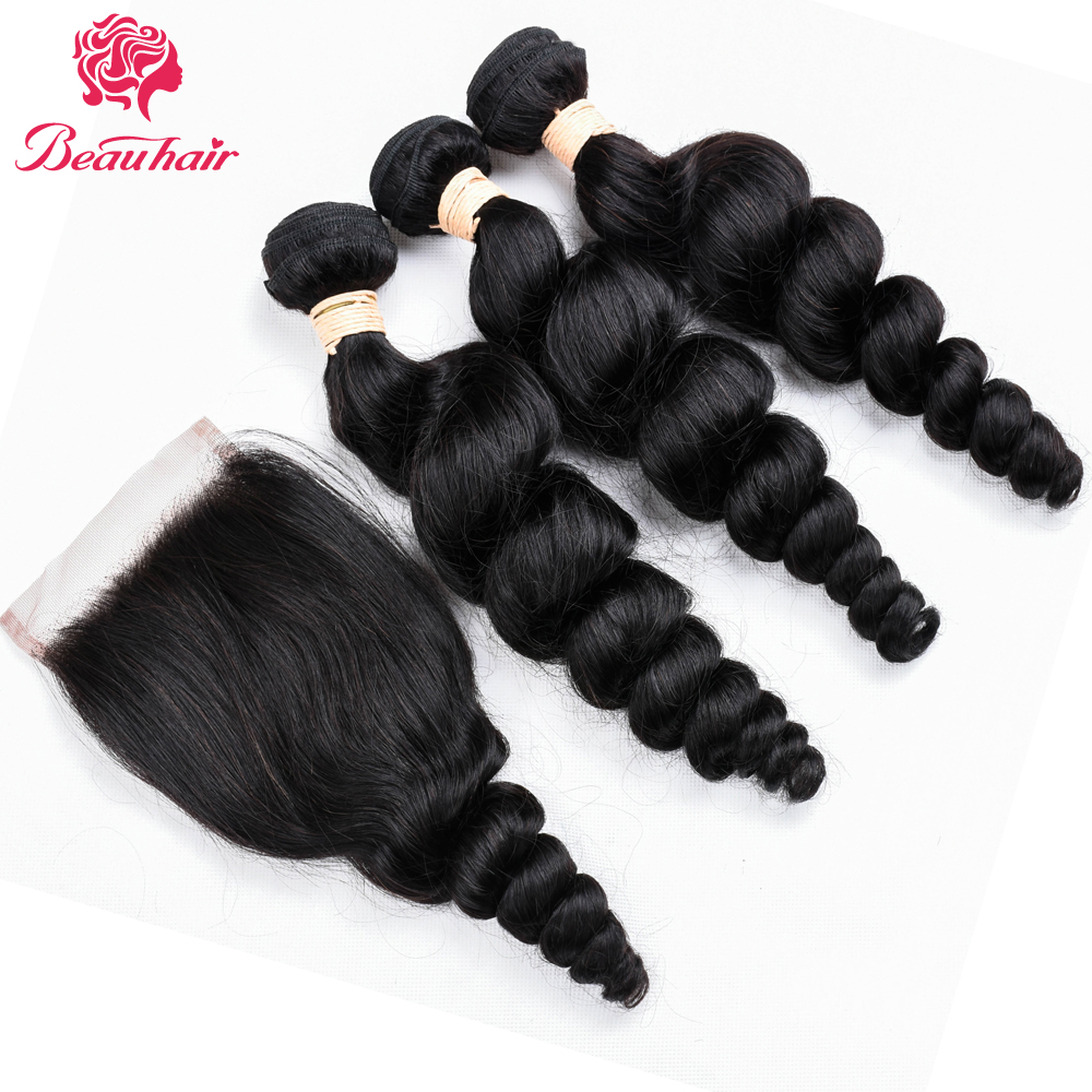 Beauhair Malaysia Loose Wave 3 Bundles With 4*4 Lace Closure Hair Weave Bundles Non-Remy Human Hair