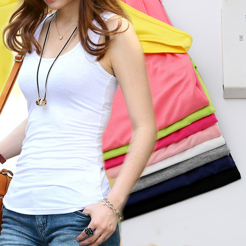 Jeseca Solid Slim Women   tank     Tops   Spring Summer Fitness   Tank     Tops   Women Sleeveless Round Neck Loose T Shirt Ladies Vest Singlets