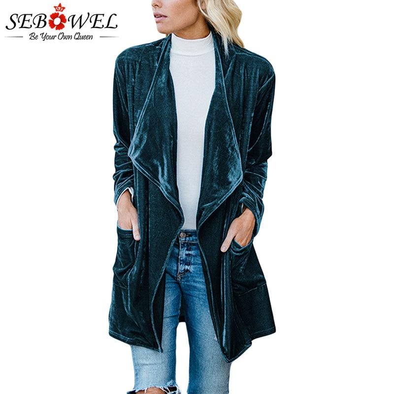 SEBOWEL Long Sleeve Retro Velvet Blazer Jacket Woman Draped Open Front Ladies Elegant Long Style Blazers New Spring Auutumn 2020