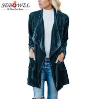 SEBOWEL Long Sleeve Retro Velvet Blazer Jacket Woman Draped Open Front Ladies Elegant Long Style Blazers New Spring Auutumn 2019