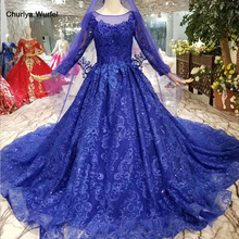 купить HTL035 blue mother of the bride dresses with train o neck long sleeves muslim ladies party dresses long 2019 new fashion design по цене 35105.07 рублей