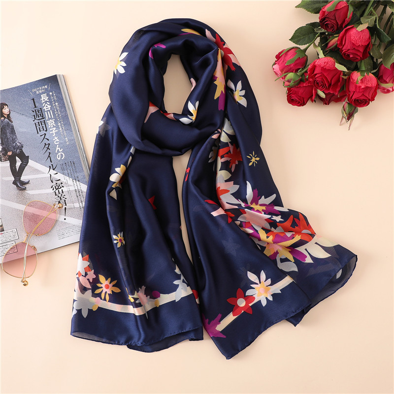 2018 Women Fashion Spain Navy Floral Silk Scarf Lady Luxury Brand Wraps And Shawls Female Pashmina Stole Foulards Hijab Snood