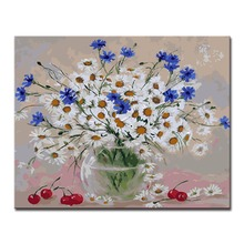 Painting By Numbers Oil Paint DIY Drawing White Daisy Cherry On Canvas Colors Hand Wall Modular Paints Art Framework Pictures