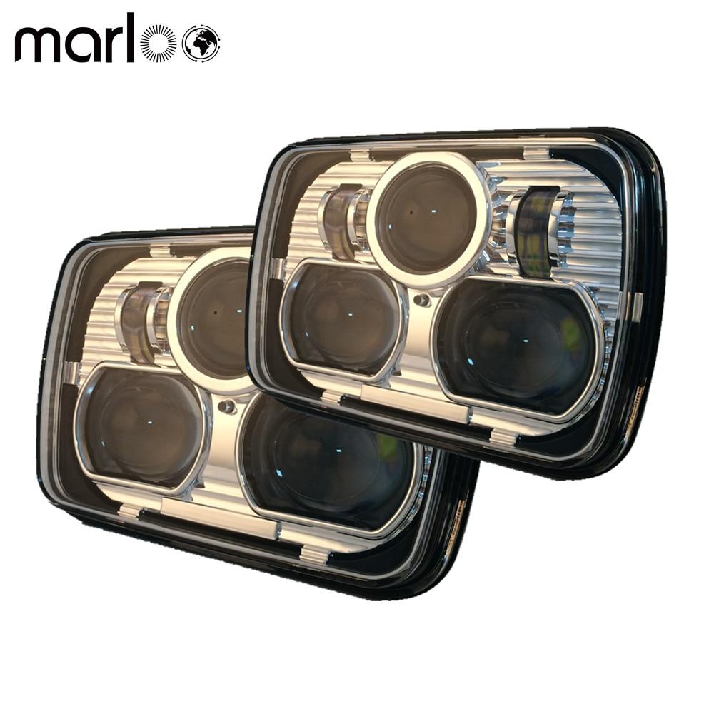Marloo Pair of H4 Pins Headlight High & Low Beam Headlights For 87-95 Jeep Wrangler YJ 84-01 Cherokee XJ 5 x 7 Headlights pair 7x6inch led headlights 27450c of