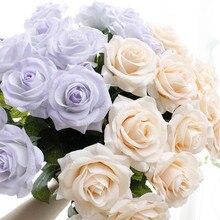 YO CHO 11 قطعة وردة بملمس طبيعي زهرة اصطناعية PU الأبيض الفاوانيا الوردي الزفاف زهرة ديكور حفلة للمنزل الديكور وهمية الزهور