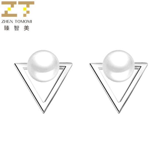 Hot Fashion Nickel Free Pearl Triangle Stud Earrings Fashion Jewelry  1