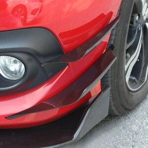 4 Pcs Universal Black Frontschürze Seite Canards Splitter Flossen Lip Splitter Fin Air trim Auto Körper Seite Flügel Canards splitter