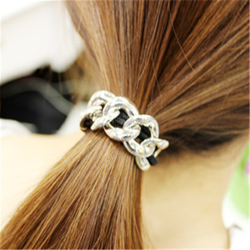 Metal Chain Hair Cuff Band New Women Headband Head Piece Elastic Head Rope Ponytail Holder Hair Accessories Gold Silver Hot