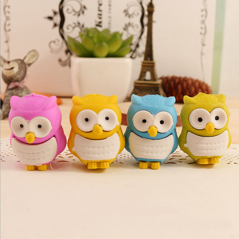 1X Creative Cute Animal Owl Children Eraser Kawaii School Supplies Papelaria Child Learning Stationery Materiale Scolastico