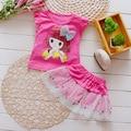 2016 de Corea Del Niño de Ropa de Bebé Niñas Establece Niñas Temperamento de Verano Conjunto de Dibujos Animados 2 unids Ropa de Las Niñas Juegos Niños Atan el Vestido traje