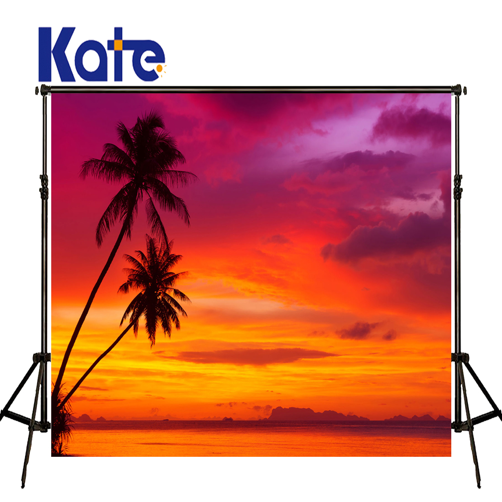 KATE 5x7ft Seaside Scenery Background Naturism Children Photos Sunset Coconut Tree Backdrop Red Clouds Background for Studio kate 5x7ft photo background scenery