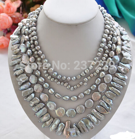 HOT## Wholesale price > ^^^ 5row 20 GRAY BAROQUE RICE BIWA COIN FRESHWATER pearl necklace