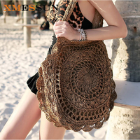 XMESSUN 2017 Bohemian Straw Bags For Women Big Circle Beach Handbags Summer Vintage Rattan Bag Handmade