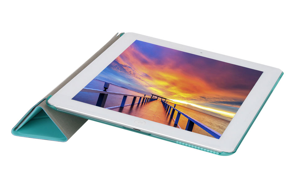 Multi-folded Tablets Case For iPad 234 Smart Protective Cover PU+PC Connection Translucent PC Hard Tablet Case For iPad 4 Case-6