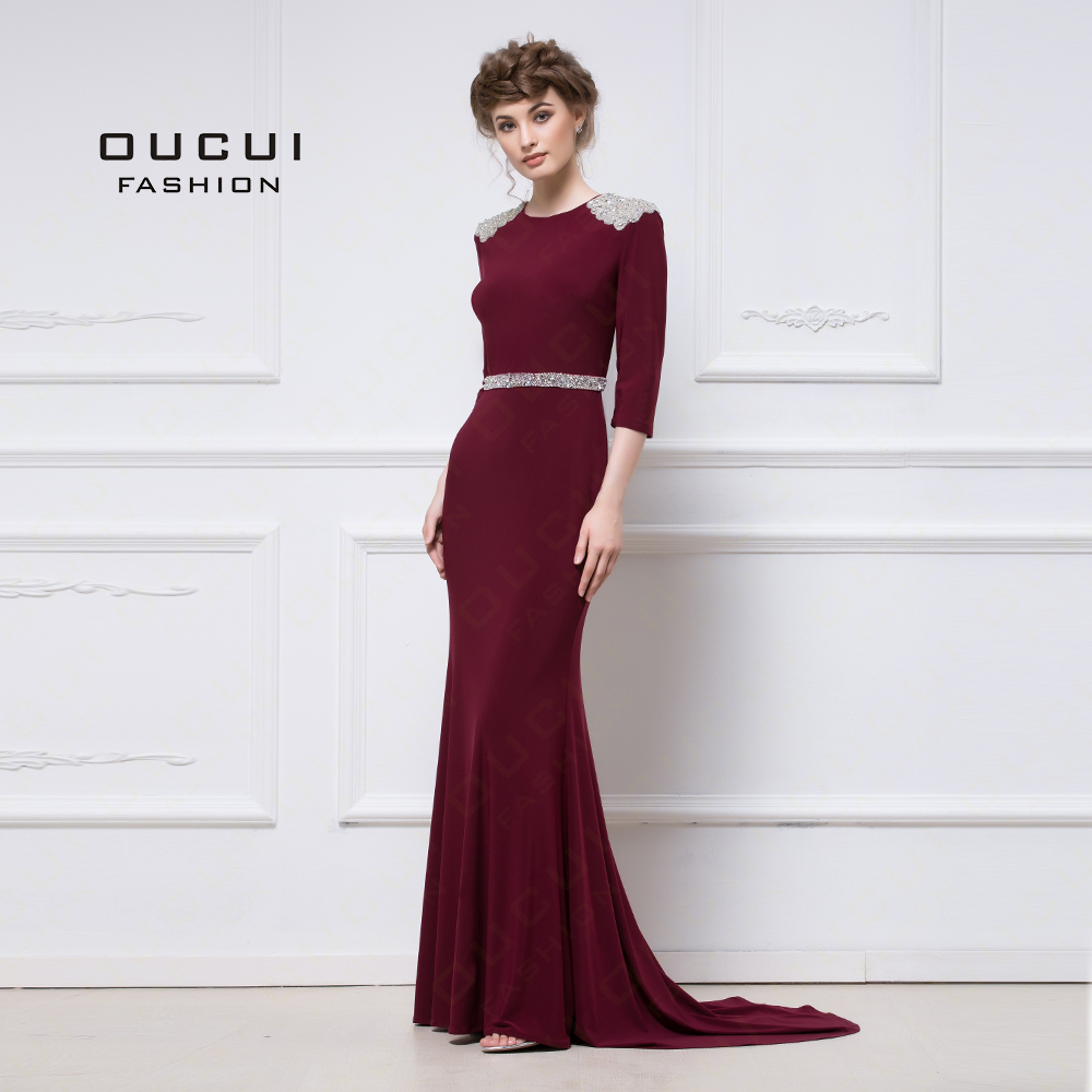 Jersey Fabric 3/4 Sleeves Sparkling Handmade beading With Stones Mermaid Muslim   Prom     Dresses   Party Evening OL102901
