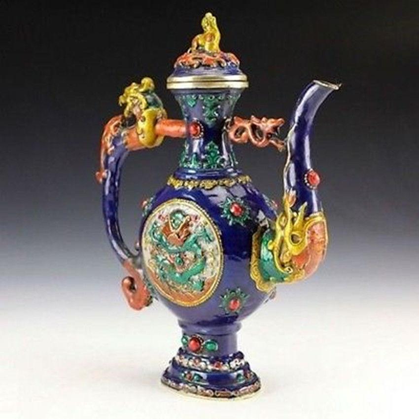 Oriental Vintage Collectible Colored enamel Handwork Copper Dragon Teapot