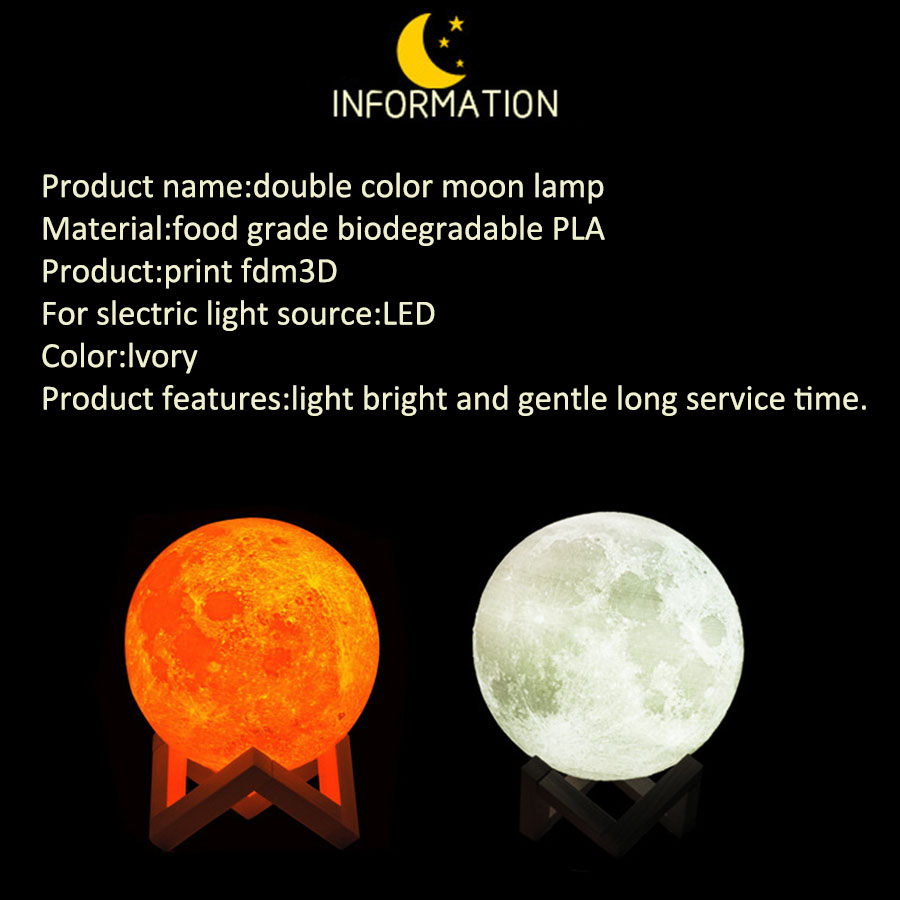 Rechargeable 3D Print Moon Lamp with LED Light For Bedroom Decoration 8