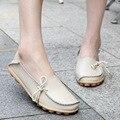 Обувь из натуральной Кожи Мокасины Женщина Дамы Квартиры Обувь Весна 2016 Повседневная Комфорт Вождения Мать Мокасины Размер 35-44 NX108