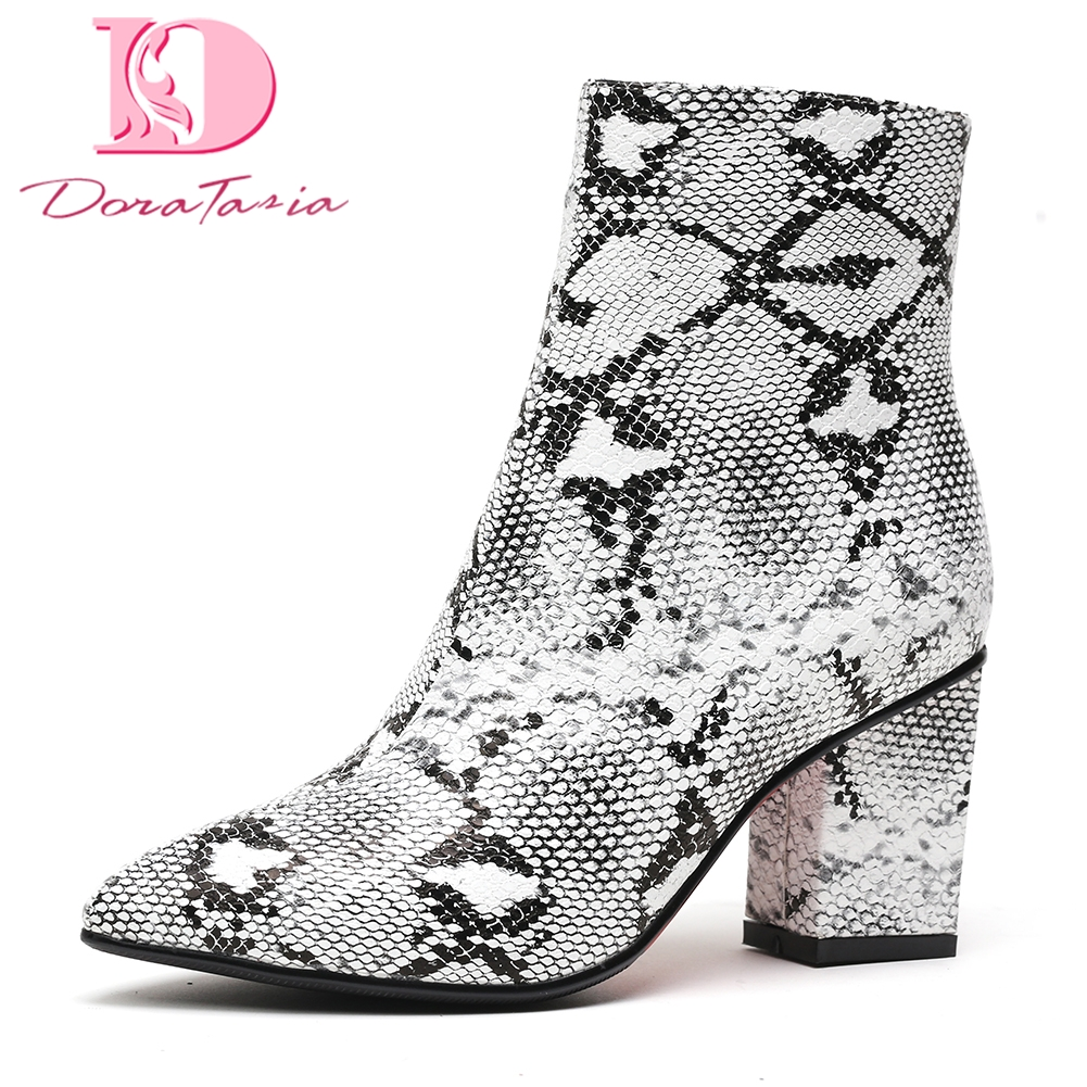 цены на DoraTasia 2018 Large Size 34-42 High Heels Hot Sale women Winter Boots Woman Shoes Zip Up sexy party Ankle Boots Shoes Woman