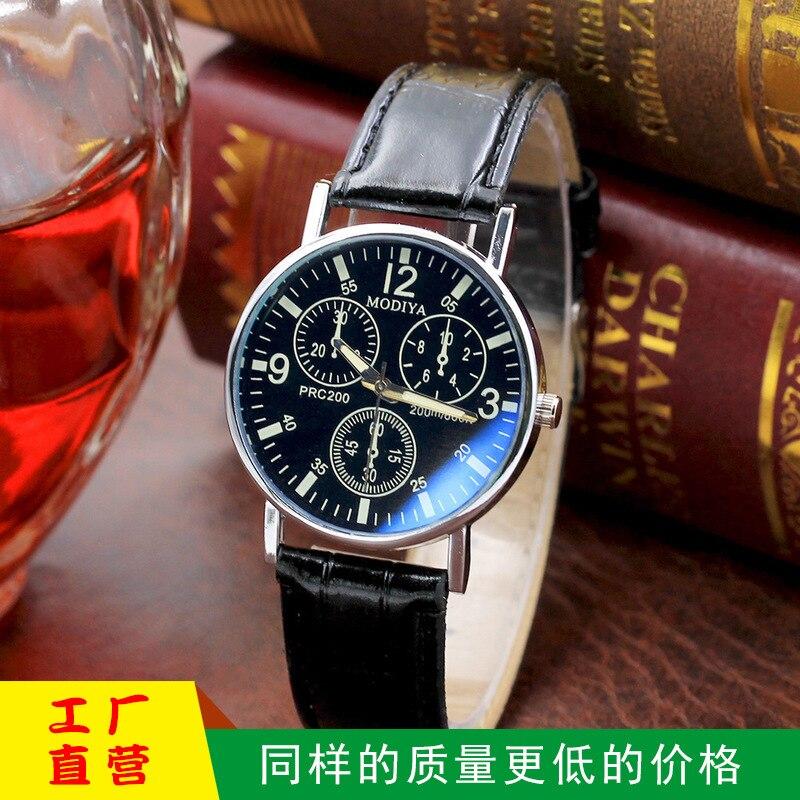 Explosions cadeau montre pour hommes mode quartz montre montre bleu verre ceinture montre pour hommes fabricants en gros 1