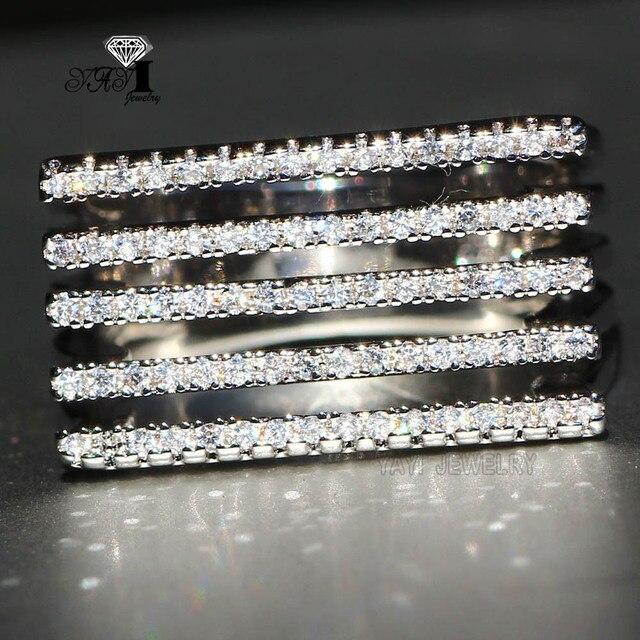 YaYI Jewelry Fashion Princess Cut 5.6 CT White Zircon Silver Filled Engagement R