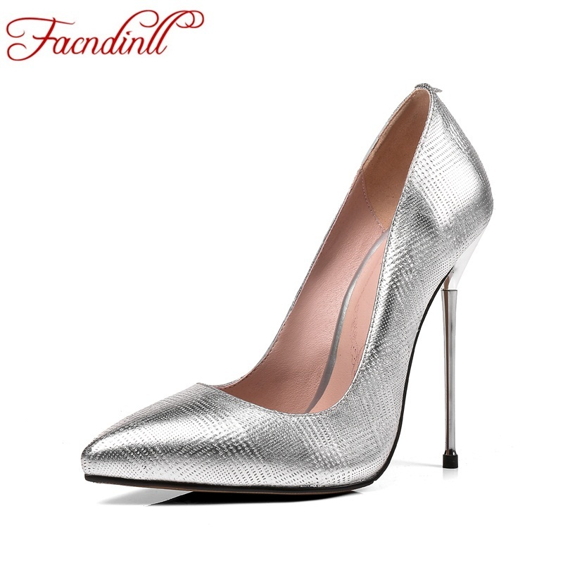 все цены на FACNDINLL genuine leather pumps shoes women sexy ladies office pumps super high heels pointed toe nude shoes silver party shoes