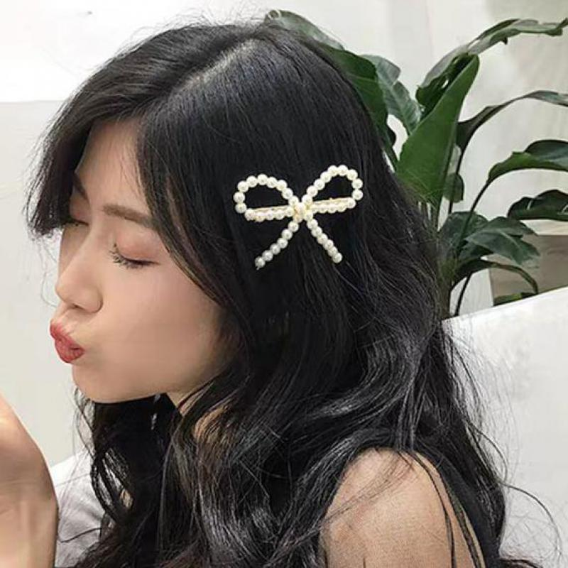 Korean Version Of The Headdress Pearl Bow Clip Cute Girl Clip Jewelry Bride Gift Hair Accessories Crystal Jewelry Hair Pearl