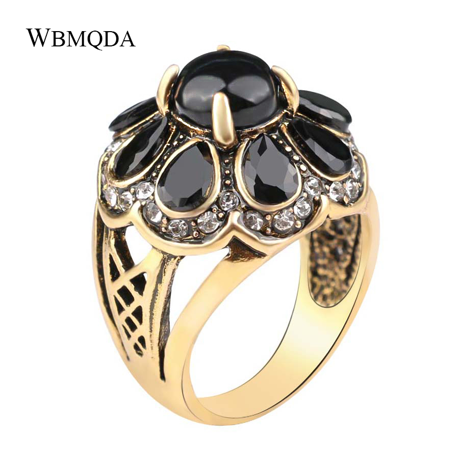 Wbmqda HOT 2018 Fashion Black Green Resin Crystal Rings For Women Unique Vintage Gold Flower Ladies Ring Jewelry Accessories