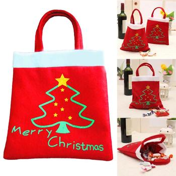 5 Pcs Merry Christmas Red Candy Bag Tree Print Pouch Home Party Decor Gift 4