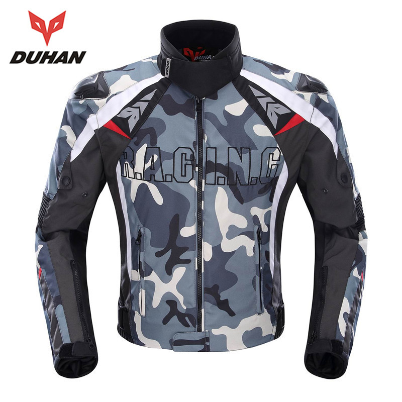 Духан камуфляж Для мужчин мотоциклетная куртка Оксфорд Мотокросс гонки по бездорожью куртка с 5 защитников Moto охранников байкерская куртка