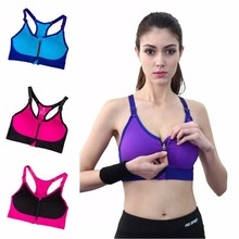 Women Fitness Workout Stretch Sports Bra Adjustable Strap Wire Free Bras Padded Front Zip Quick Dry Bra