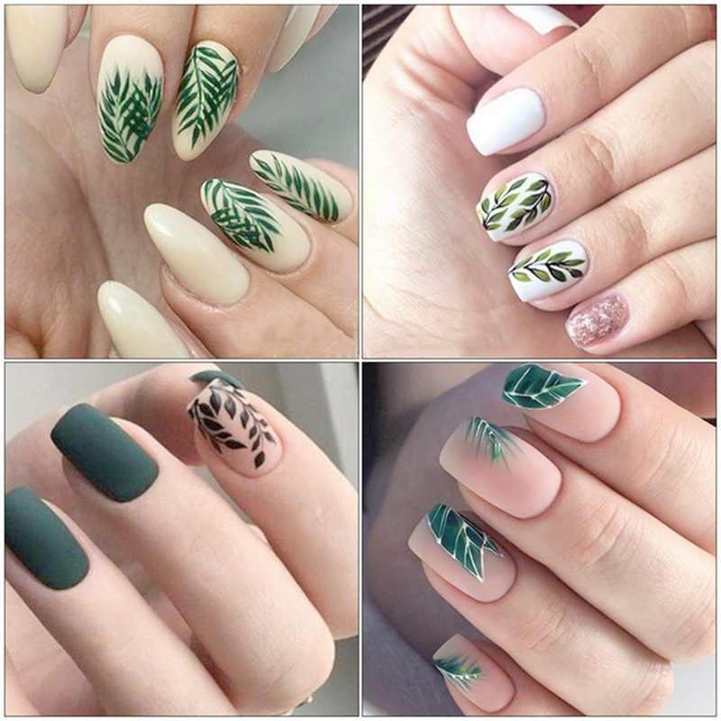 2Pcs/Set Fresh Nail Stickers Black Leaf Flower Decal Water Transfer Sticker Nail Art Slider For Manicure Decoration
