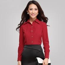 2015 cotton ladies' blouses shirt ladies blouse swear long-sleeved shirt plus size women clothing 4xl 5xl