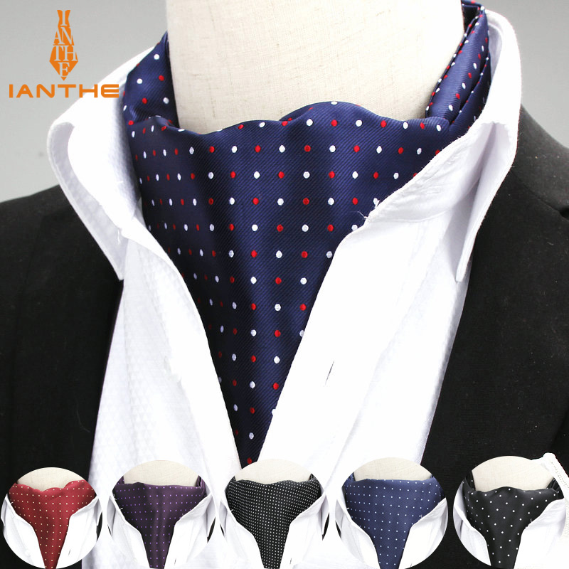 2018 Polka Dot Designer Men's Jacquard Woven Cravat Wedding Cravats New Navy Mens Smooth Ascot Ties For Men Tie Necktie Neckwear