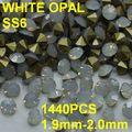 Ponto SS6 1440 pçs/saco branco Opal strass ouro para Nail Art 1.9 mm - 2.0 mm Diy decoração de unhas