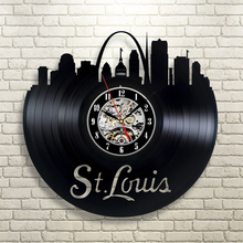 Free Shipping 1Piece St. Louis Vintage Vinyl Wall Clock LP Vinyl Record Digital Time Clock Decorative Shadow Art Wall Home Decor