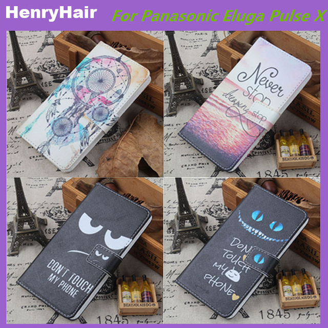 release date 6ee7a b6bb0 US $3.91 10% OFF Hot! Cartoon Pattern PU Leather Cover Case Flip Card  Holder Cover For Panasonic Eluga Pulse X Wallet Phone Cases-in Flip Cases  from ...