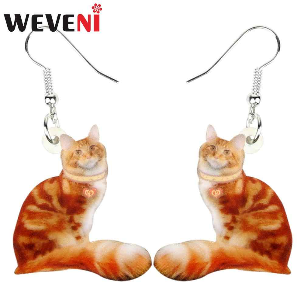 WEVENI Acrylic Orang Sitting Cat Earrings Women Fashion Animal Jewelry For Female Girls Ladies Teens Kids Charms Lots Gift