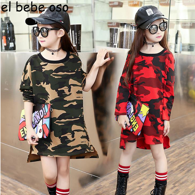 Baby Girl Dress New 2018 Summer Autumn Children Long Sleeve Girls Camouflage Dresses Kids Casual Fashion Princess Dress XL700